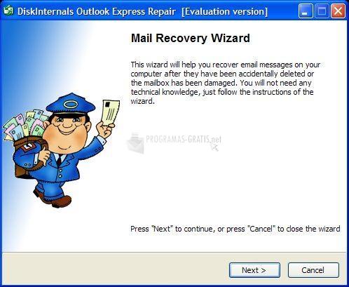 Pantallazo Diskinternals Outlook Express Repair