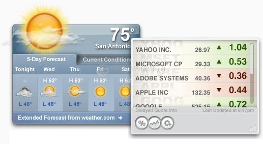 Pantallazo Yahoo Widget Engine