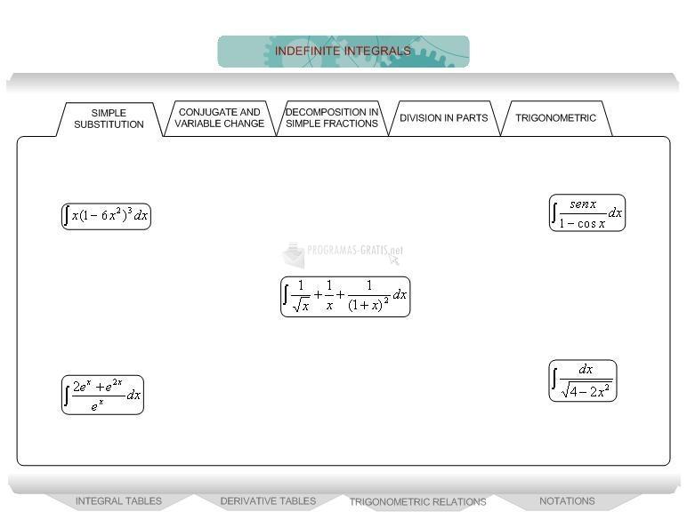 Pantallazo Indefinite Integrals eBook