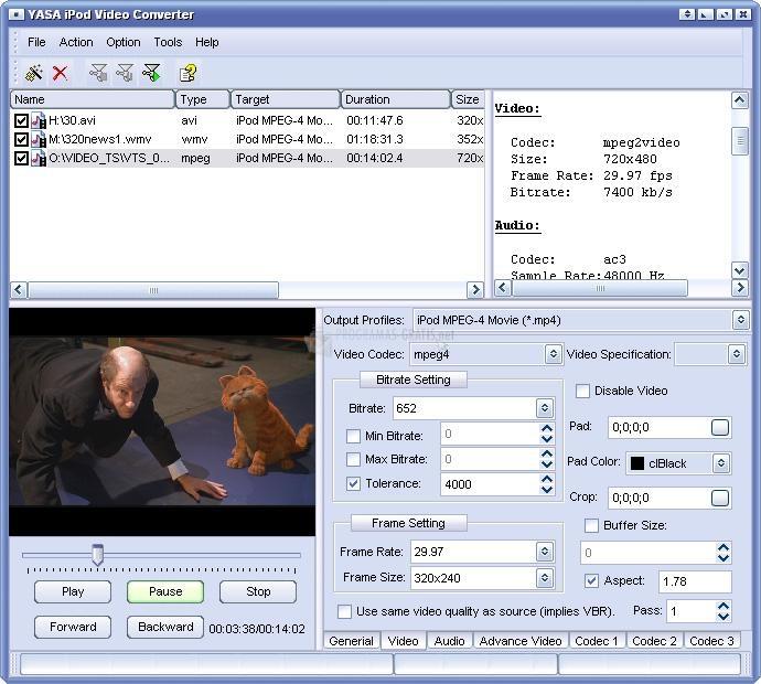 Pantallazo YASA iPod Video Converter