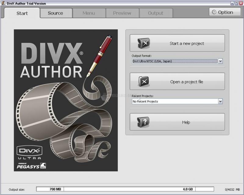 Pantallazo DivX Author