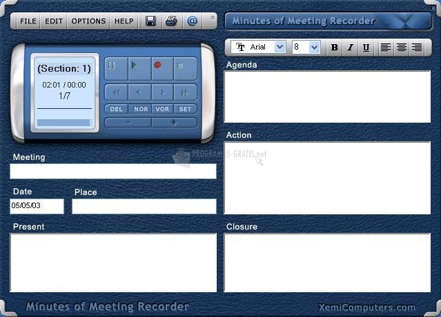 Pantallazo Minutes of Meeting Recorder