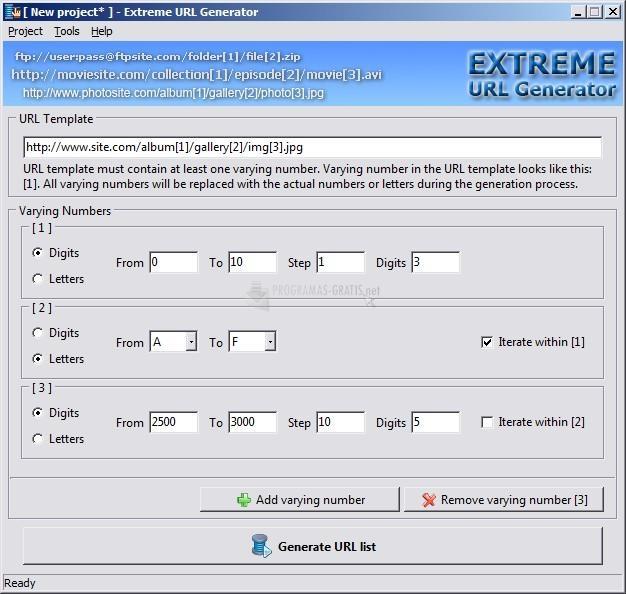 Pantallazo Extreme URL Generator