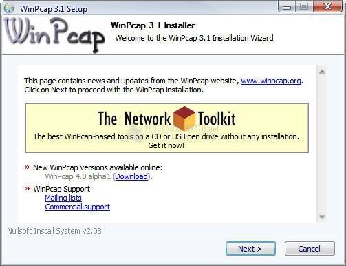 Pantallazo WinPcap