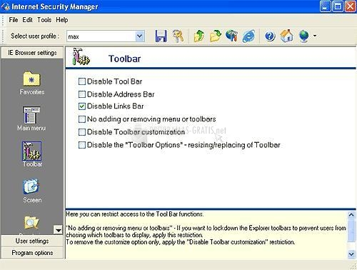 Pantallazo Internet Security Manager