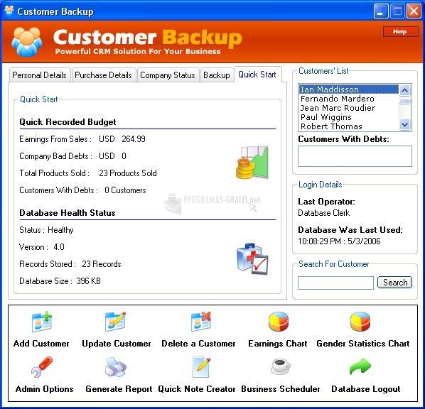 Pantallazo Customer Backup