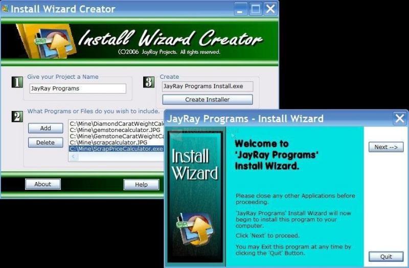 Pantallazo Install Wizard Creator