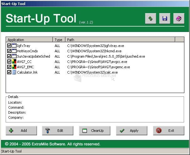 Pantallazo Start-Up Tool