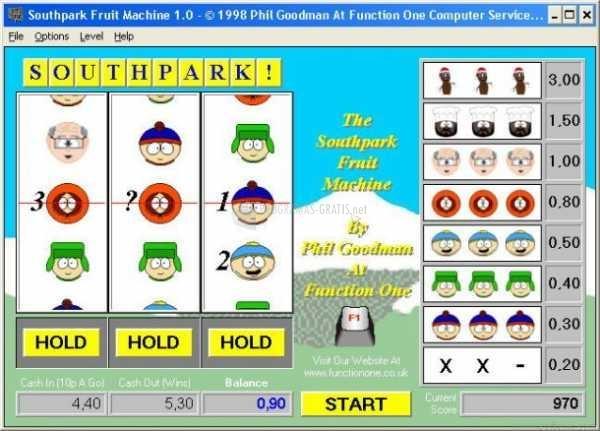 Pantallazo South Park Fruit Machine