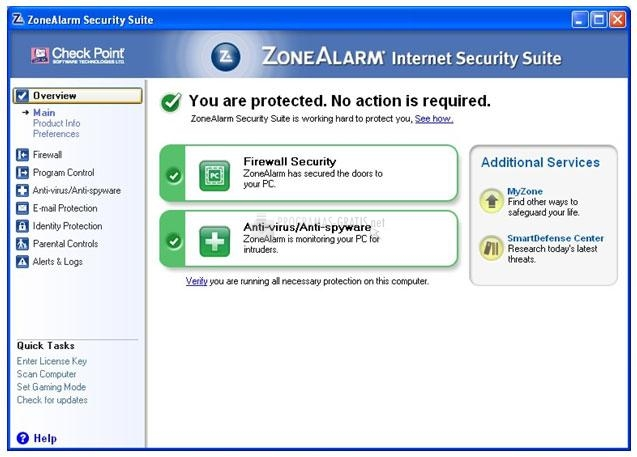 Pantallazo ZoneAlarm Internet Security Suite (English)