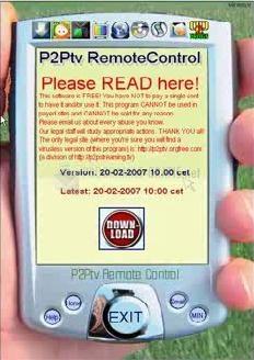 Pantallazo P2PTv Remote Control