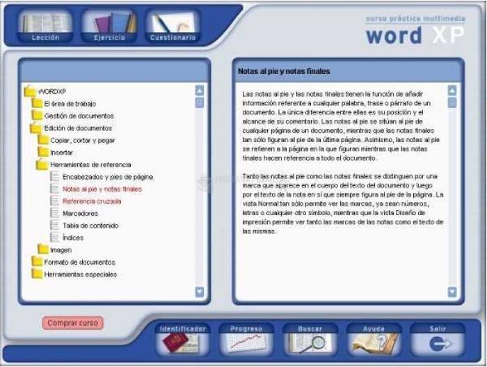 Pantallazo Soft Obert Curso de Word XP