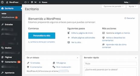 Pantallazo WordPress