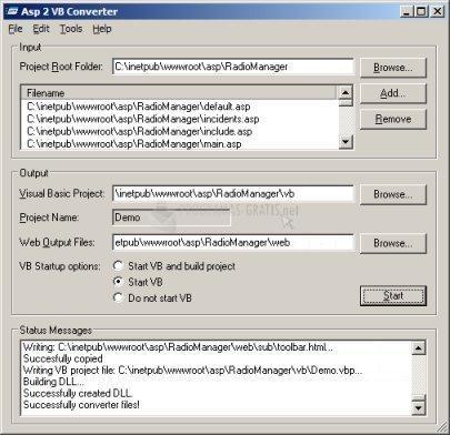 Pantallazo ASP to Visual Basic ActiveX DLL Converter