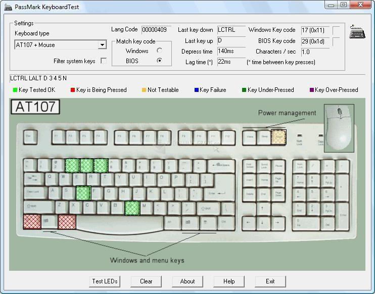 Pantallazo KeyboardTest