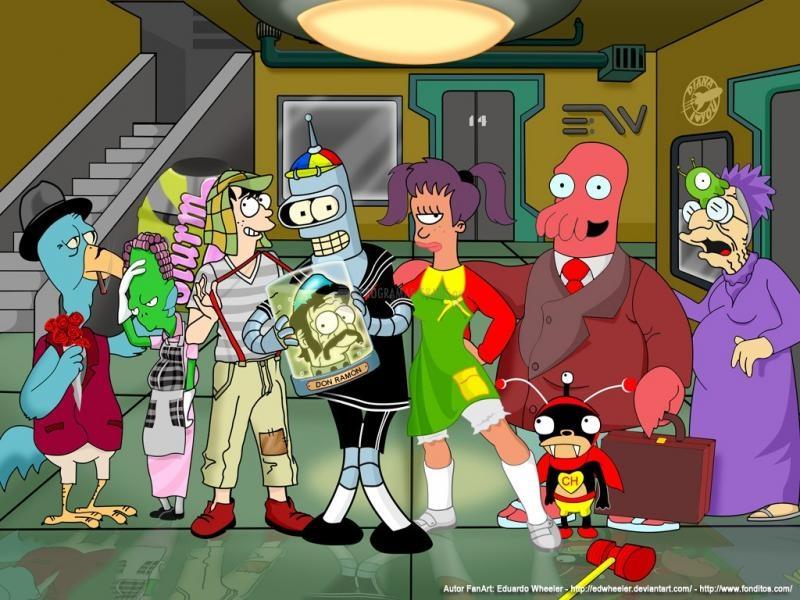 Pantallazo Futurama y el Chavo del 8