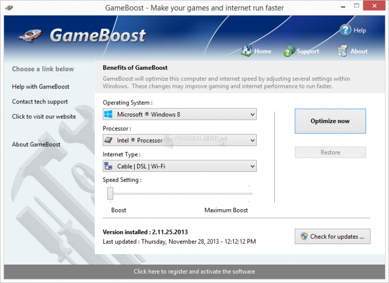 Pantallazo GameBoost