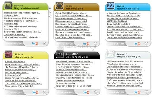 Pantallazo Swebloo RSS Gadgets