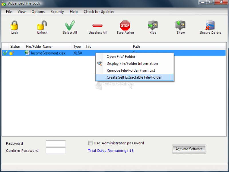 Pantallazo Advanced File Lock