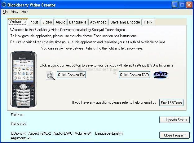 Pantallazo Blackberry Video Converter