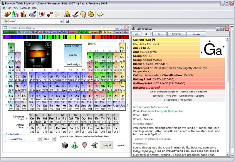 Pantallazo Periodic Table Explorer