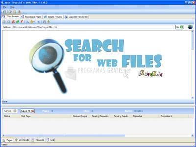 Pantallazo Wsa - Search for Web Files