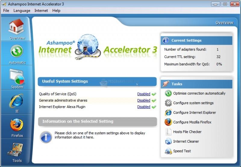Pantallazo Ashampoo Internet Accelerator