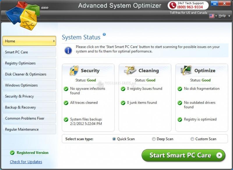 Pantallazo Advanced System Optimizer