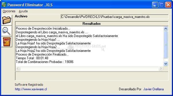 Pantallazo Password Eliminator .XLS
