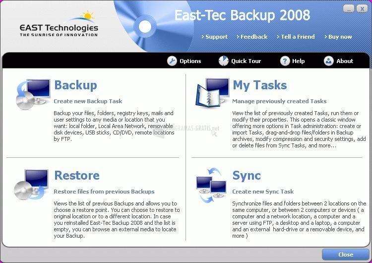 Pantallazo East-Tec Backup
