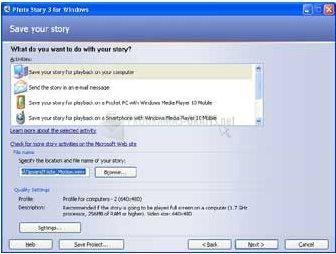 Pantallazo Microsoft Photo Story