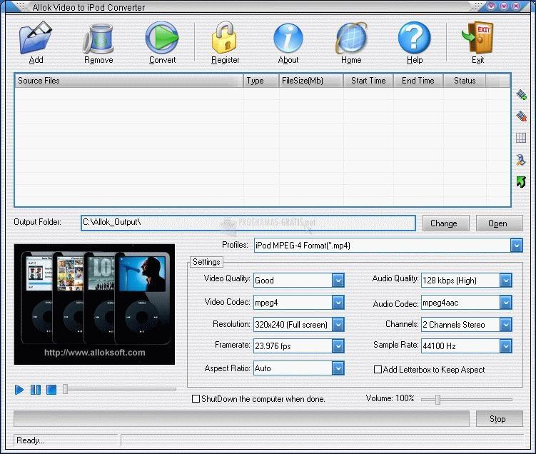 Pantallazo Allok Video to iPod Converter