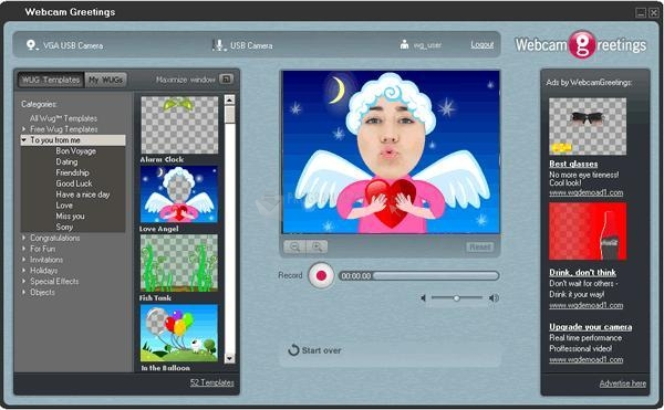 Pantallazo Webcam Greetings Studio