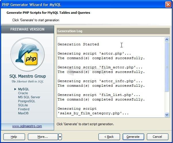 Pantallazo MySQL PHP Generator