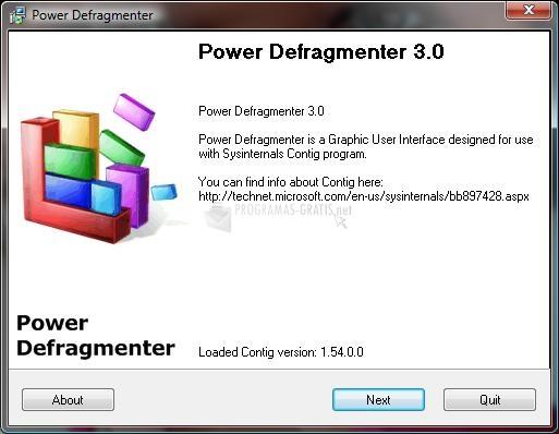 Pantallazo Power Defragmenter GUI