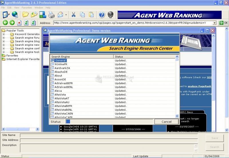 Pantallazo AgentWebRanking Professional