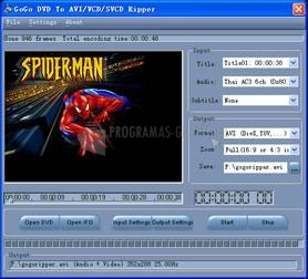 Pantallazo GoGo DVD To AVI/VCD/SVCD Ripper