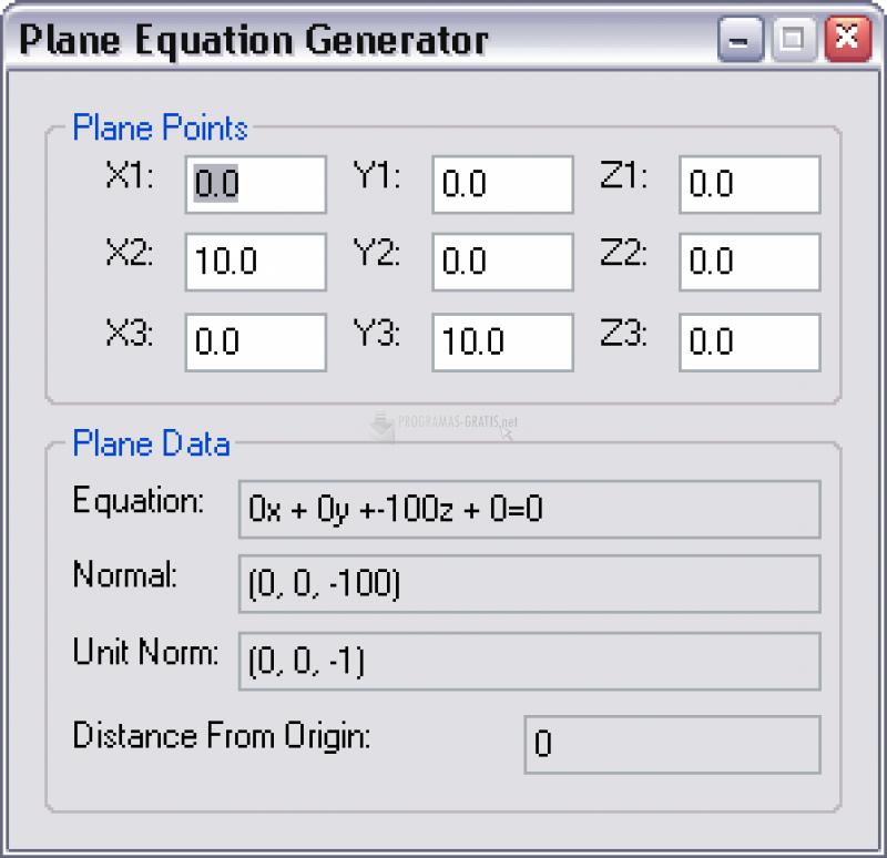 Pantallazo Plane Equation Generator