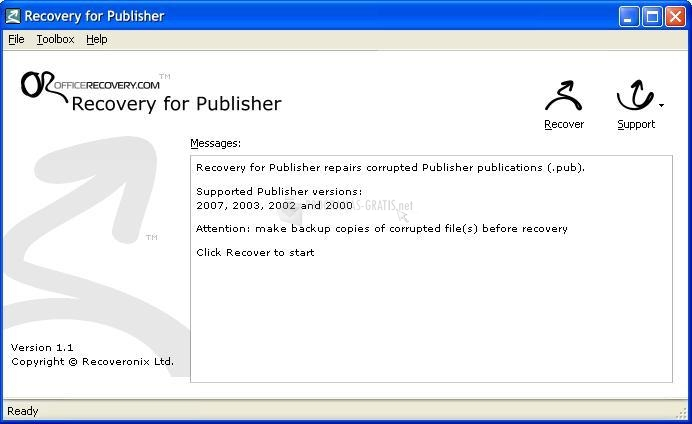 Pantallazo Recovery for Publisher