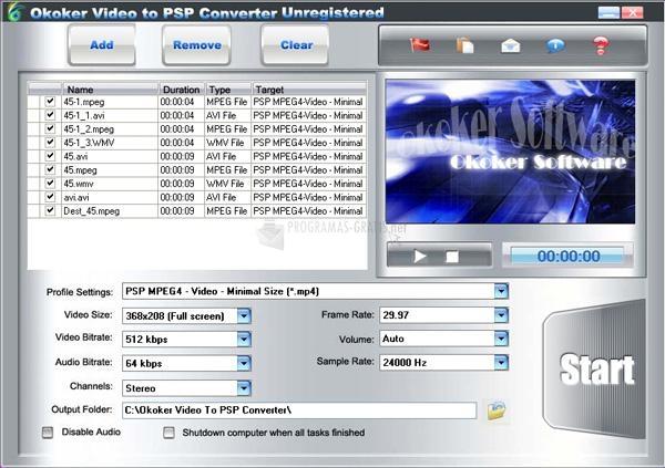 Pantallazo Okoker Video to PSP Converter