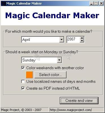 Pantallazo Magic Calendar Maker