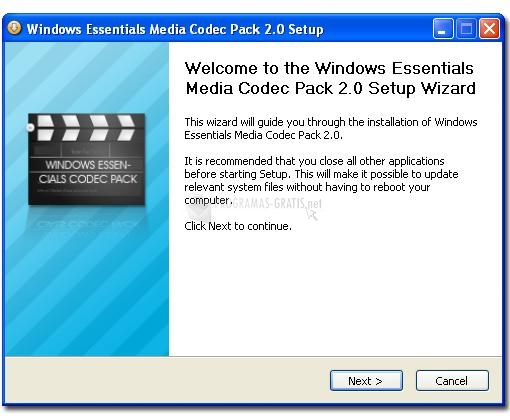 Pantallazo Windows Essentials Codec Pack