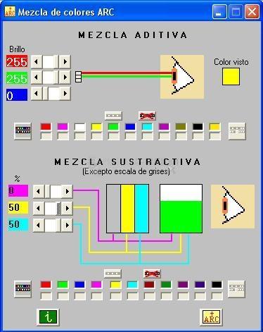 Pantallazo Mezcla de colores ARC