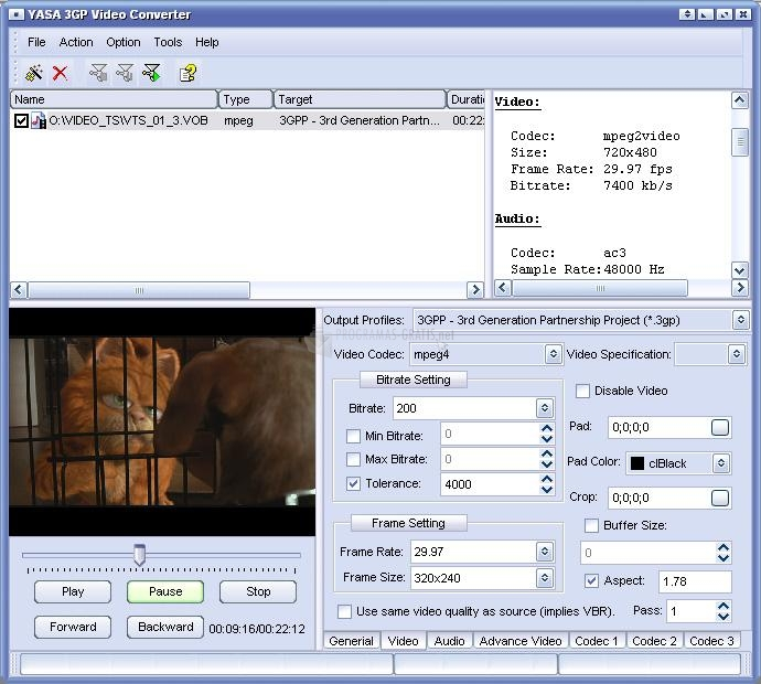 Pantallazo YASA 3GP Video Converter
