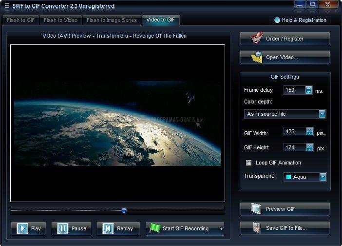 Pantallazo SWF-AVI-GIF Converter