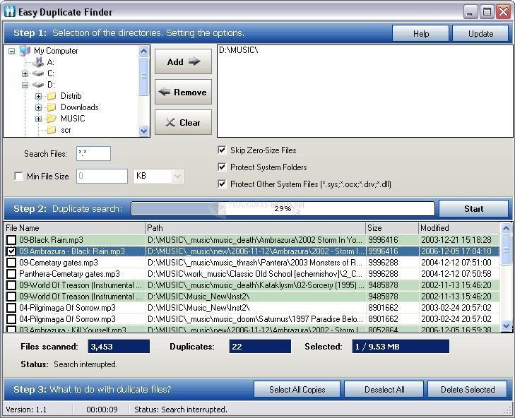 Pantallazo Easy Duplicate File Finder