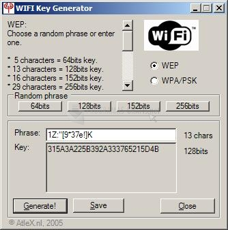 Pantallazo WIFI Key Generator