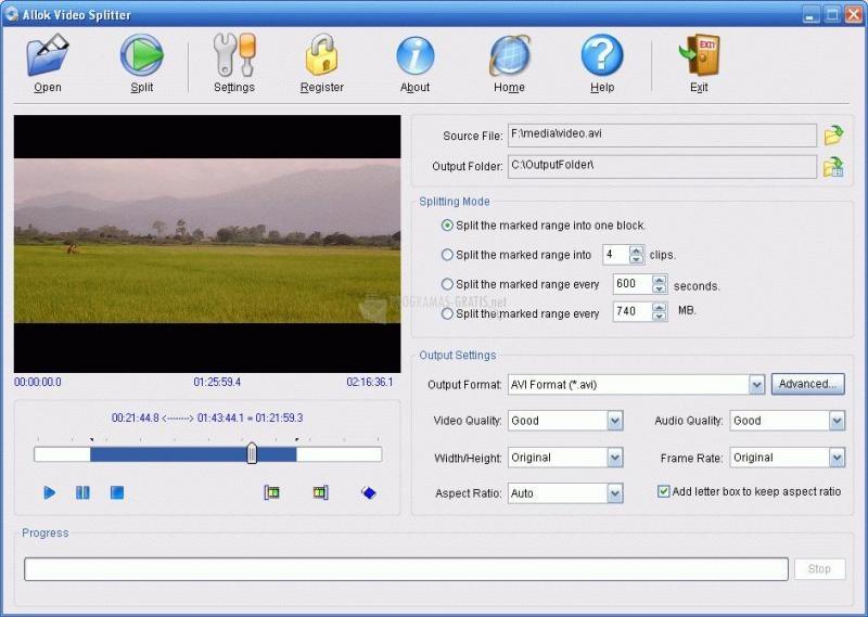 Pantallazo Allok Video Splitter