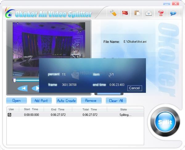 Pantallazo Okoker All Video Splitter