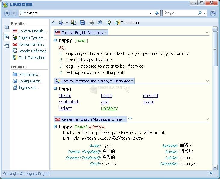 Pantallazo Lingoes Translator